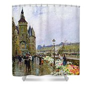 Flower Sellers By The Seine Shower Curtain by Georges Stein