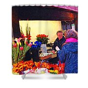 Flower Stand on Stockton and Geary Street . Photoart Shower Curtain by Wingsdomain Art and Photography