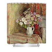 Flowers In A Vase Shower Curtain by Edouard Vuillard