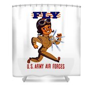 Fly - Us Army Air Forces Shower Curtain by War Is Hell Store