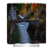 Footbridge At Lower Falls Shower Curtain by Rick Berk