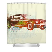 Ford Mustang Watercolor Shower Curtain by Naxart Studio