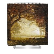 Forest Sunrise Shower Curtain by Albert Bierstadt