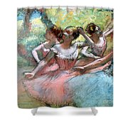 Four ballerinas on the stage Shower Curtain by Edgar Degas