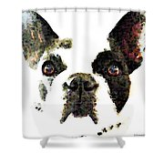 French Bulldog Art - High Contrast Shower Curtain by Sharon Cummings