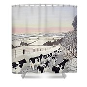 Friesians In Winter Shower Curtain by Maggie Rowe