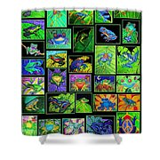 Frogs Poster Shower Curtain by Nick Gustafson