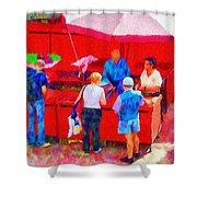 Fruit of the Vendor Shower Curtain by Jeff Kolker