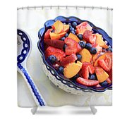 Fruit Salad With Spoon Shower Curtain by Carol Groenen