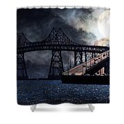 Full Moon Surreal Night At The Bay Area Richmond-San Rafael Bridge - 5D18440 Shower Curtain by Wingsdomain Art and Photography
