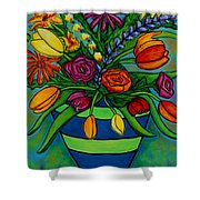 Funky Town Bouquet Shower Curtain by Lisa  Lorenz