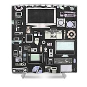 Gadgets Icon Shower Curtain by Setsiri Silapasuwanchai