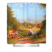 Gandalf's Return Fireworks In The Shire. Shower Curtain by Joe  Gilronan