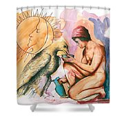 Ganymede And Zeus Shower Curtain by Rene Capone