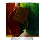 Garlic And Oil Shower Curtain by Shannon Grissom