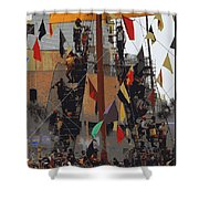 Gasparilla Ship Poster Shower Curtain by Carol Groenen