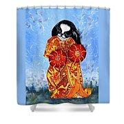 Geisha Chin Shower Curtain by Kathleen Sepulveda