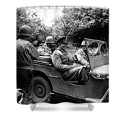 General Eisenhower In A Jeep Shower Curtain by War Is Hell Store