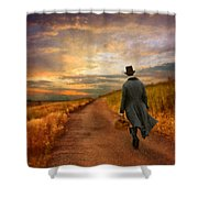 Gentleman Walking On Rural Road Shower Curtain by Jill Battaglia