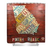 Georgia License Plate Map Shower Curtain by Design Turnpike