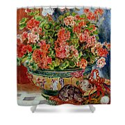 Geraniums And Cats Shower Curtain by Pierre Auguste Renoir