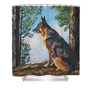 German Shepherd Lookout Shower Curtain by Lee Ann Shepard