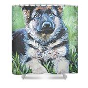 German Shepherd Puppy Shower Curtain by Lee Ann Shepard