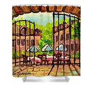 GIBBYS RESTAURANT IN OLD MONTREAL Shower Curtain by CAROLE SPANDAU