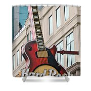 Gibson Les Paul Of The Hard Rock Cafe Shower Curtain by DigiArt Diaries by Vicky B Fuller