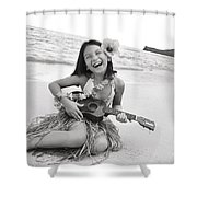 Girl And Her Ukulele Shower Curtain by Brandon Tabiolo - Printscapes