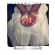 Girl Is Holding A Heart Shower Curtain by Joana Kruse