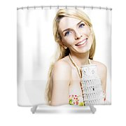 Girl Reminiscing A Trip To Europe With A Memento Shower Curtain by Jorgo Photography - Wall Art Gallery