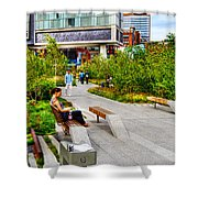 Girl Uninterrupted on the High Line Shower Curtain by Randy Aveille
