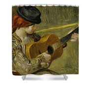 Girl with a Guitar Shower Curtain by Pierre Auguste Renoir