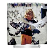 Girl With Pigeons Shower Curtain by Heiko Koehrer-Wagner