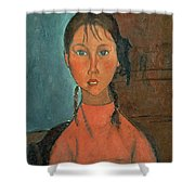 Girl with Pigtails Shower Curtain by Amedeo Modigliani