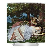 Girls On The Banks Of The Seine Shower Curtain by Gustave Courbet