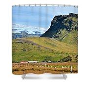 Glacier Mountains Meadows Farm Shower Curtain by David Halperin
