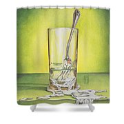 Glass With Melting Fork Shower Curtain by Melissa A Benson