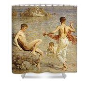 Gleaming Waters Shower Curtain by Henry Scott Tuke