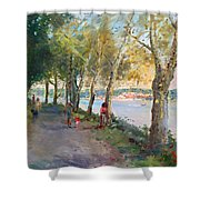 Going For A Stroll Shower Curtain by Ylli Haruni