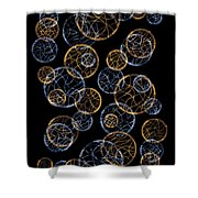 Gold And Blue Abstract Circles Shower Curtain by Frank Tschakert
