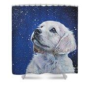 Golden Retriever Pup In Snow Shower Curtain by Lee Ann Shepard