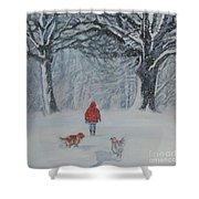 Golden Retriever Winter Walk Shower Curtain by Lee Ann Shepard
