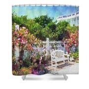 Grand Hotel Gardens Mackinac Island Michigan Shower Curtain by Betsy Foster Breen
