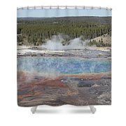 Grand Prismatic Spring, Midway Geyser Shower Curtain by Richard Roscoe