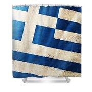 Greece flag Shower Curtain by Setsiri Silapasuwanchai
