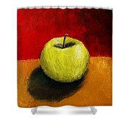 Green Apple With Red And Gold Shower Curtain by Michelle Calkins
