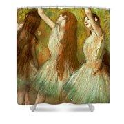 Green Dancers Shower Curtain by Edgar Degas