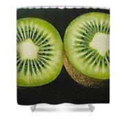 Green Kiwi Oil Painting  Shower Curtain by Natalja Picugina